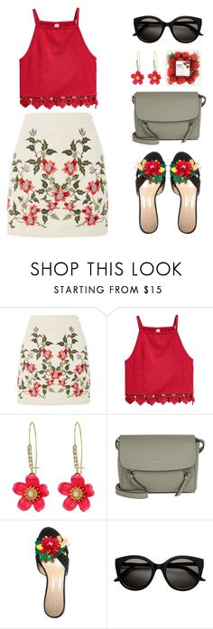 """Sem título #736"" by tabata-sachetti ❤ liked on Polyvore featuring Topshop, Betsey Johnson, DKNY and Charlotte Olympia"
