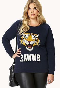 Tiger Eyes Raglan Sweatshirt | FOREVER21 PLUS - 2000092039