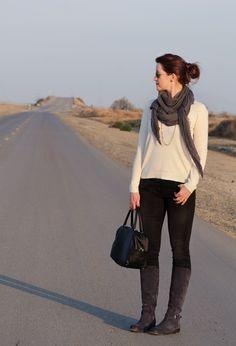 winter white / distressed black denim / grey scarf + boots // member @Cynthia Brown