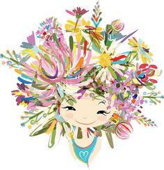 Mulher de retrato com penteado floral para seu projeto - ilustração de arte em vetor