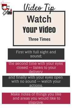 Amy C. Maier recommends watching your videos three times for a self critique.  Very cool tips!
