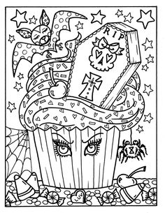 Halloween Cupcakes half 2 printables grownup coloring enjoyable for Halloween digital pages coloring pages witch owl pinup octopus artwork Halloween Coloring Sheets, Witch Coloring Pages, Adult Coloring Book Pages, Disney Coloring Pages, Mandala Coloring Pages, Coloring Books, Cupcake Coloring Pages, Mickey Mouse Halloween, Chat Halloween