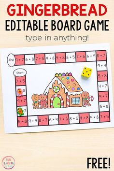 Board games 212021095023618311 - Use this editable gingerbread board game to learn math facts this Christmas! Perfect for kindergarten, first grade, and second grade. Source by funlearningforkids Math Board Games, Board Games For Kids, Kindergarten Games, Math Activities, Free Maths Games, 1st Grade Math, Second Grade, Christmas Board Games, Christmas Math Worksheets
