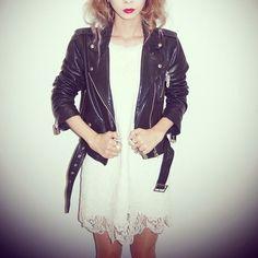 Black x White Mode Gyaru, Leather Jacket, Dresses With Sleeves, Long Sleeve, Jackets, Collection, Black, Fashion, Studded Leather Jacket