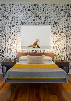 Contemporary Bedroom by Rethink Design Studio Swap out artwork, my favorite thing to do!!