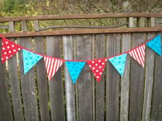 Dr. Seuss Bunting Red and Turquoise Fabric Large size for Birthday Party, Nursery, Photo Prop. $24.00, via Etsy.