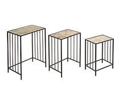 Set de 3 mesas nido de madera de abeto y metal - negro