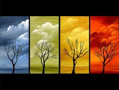 Decorative Desert Clouds Abstract Tree Oil Painting Modern Hand Oil Painting Hand Painted Wall Art 4 piece >>> Want additional info? Click on the image.