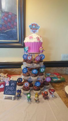 Pup cakes and giant cupcake paw patrol party idea