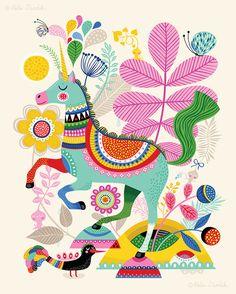 Unicorn Dream... - limited edition giclee print of an original illustration (8 x 10 in) by helendardik on Etsy https://www.etsy.com/listing/483346568/unicorn-dream-limited-edition-giclee
