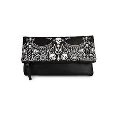 Bandana Skull Fold Over Clutch by Loungefly (Black/White)