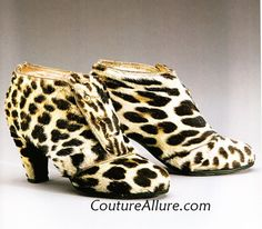 Leopard skin booties designed by Elsa Schiaparelli for her Fall 1939-40 season