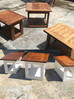 Old Coffee Table And End Tables Redo I Love The White Against Dark Wood