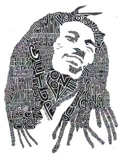 Bob Marley Black and White Word Portrait ... how cool! Could do this with any image and any words - love!