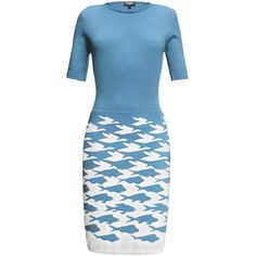 Rumour London - Sea & Sky Blue Knitted Dress ($250) ❤ liked on Polyvore featuring dresses, houndstooth dress, merino dress, blue dress, blue knee length dress and mixed print dress