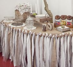 DIY Ruffled Rag Table Cloth - too cute