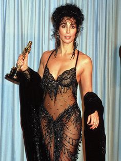 """Cher at the Oscars, 1988, the year she won best actress for """"Moonstruck"""""""