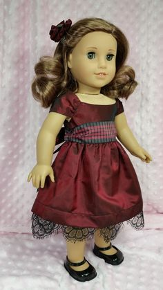 Holiday Christmas Taffeta Fancy Dress and Hair Flower - Doll Clothes by Shirley - Shirley Fomby - SOLD