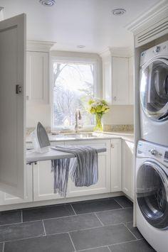 Laundry room, slate gray floor Laundry Room Cabinets, Laundry Room Organization, Laundry Room Design, Storage Organization, Laundry Shelves, Basement Laundry, Laundry Decor, Laundry Closet, Small Shelves