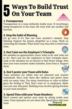 5 Ways To Build Trust On Your Team - Leadership Emotional Intelligence Leadership, Effective Leadership Skills, Leadership Coaching, Leadership Development, Leadership Quotes, Good Leadership Qualities, Leadership Activities, Business Management, Management Tips