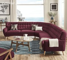 Niels Danish Modern Tufted Fabric L-Shaped Sectional by MID-Century Living (Tawny Port Red), Natural Living Room Sofa Design, Living Room Trends, Living Room Sets, Living Room Designs, Bed Furniture, Cheap Furniture, Living Room Furniture, Living Room Decor, Online Furniture