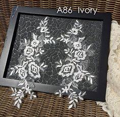 A86 Lace Appliques Wedding Applique One Set Ivory Color Lace Appliques Embroidered Appliques ** For more information, visit image link.Note:It is affiliate link to Amazon. #hot