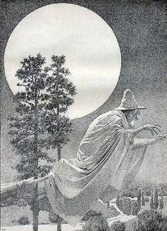 Vintage Maxfield Parrish Flying Witch Illustration