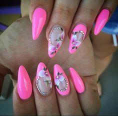 Aimez ce que vous voyez? Suivez-moi pour plus: uhairofficial Pink Black Nails, Hot Pink Nails, Pink Nail Art, Flower Nail Art, Fabulous Nails, Gorgeous Nails, Perfect Nails, Pretty Nails, Nail Art Designs
