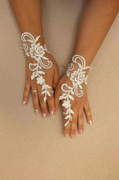 Unique ivory french lace gloves free ship wedding by WEDDING Perfect Wedding, Our Wedding, Dream Wedding, Lace Wedding, Bridal Lace, Modest Wedding, Wedding Jewelry, Wedding Rings, Wedding Attire