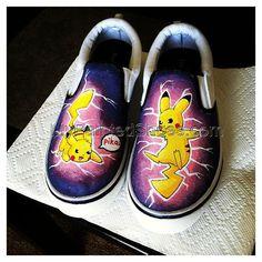 POKEMON Pikachu Shoes Slip-on Painted Canvas Shoes,Slip-on Painted Canvas Shoes these are too cute ! Painted Canvas Shoes, Custom Painted Shoes, Hand Painted Shoes, Custom Shoes, Custom Sneakers, O Pokemon, Pikachu, Pokemon Stuff, Shoe Art