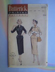 Vintage 50s Slim Skirt Suit Uncut Pattern 34 by TheSpectrum, $30.00