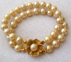 Restored vintage pearl and gold bracelet by MichiganGreenEyes