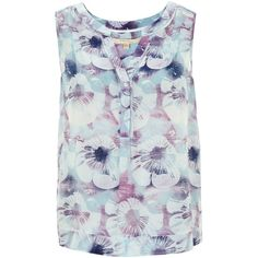 Nougat London Salma Print Silk Blouse (£39) ❤ liked on Polyvore featuring tops, blouses, clearance, ocean, sleeveless blouse, blue silk blouse, button down shirt, sleeveless button down shirt and floral print blouse