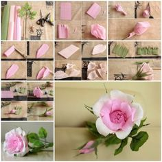 DIY Beautiful Pink Crepe Paper Rose 2