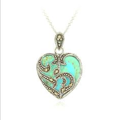 V-Tines Day Special Turquouse 925 Silver Reconstituted turquoise + 925 silver necklace. Valentine's Day SpecialRetail: $70.00 Boutique Jewelry Necklaces