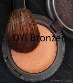 DYI Bronzer:  1. Cocoa or cinnamon powder  2. Powdered sugar or baby powder  3. An old mineral makeup sifter jar or an old compact