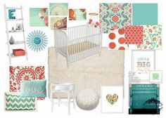 Emerson Grey Designs : Nursery Interior Designer: Delight {coral, teal and white nursery} with White Jenny Lind Crib
