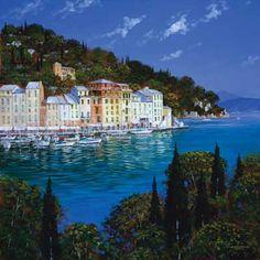 Framed Landscape Decorative Wall Art Portofino  by Steve Thoms
