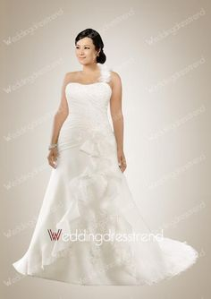 Glamorous A-line One Shoulder Beaded Ruffles Plus Size Bridal Gown