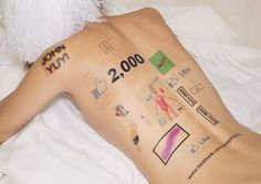john yuyi, a taiwanese-born, NY-based artist, emphasizes our addiction to and obsession with social media by affixing digital symbols to the human body. Temporary Face Tattoos, Medium Tattoos, Image Mode, The Wombats, Metal Magazine, Punk, Mode Inspiration, Tattoo Inspiration, Fashion Inspiration