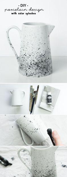 DIY porcelain painting: pot with speckle pattern - Upcycled Crafts Upcycled Crafts, Diy And Crafts, Pottery Painting, Diy Painting, Pottery Art, Art Café, Pottery Courses, Pottery Store, Pottery Tools