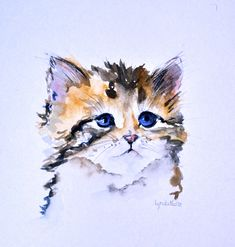 Watercolor cat painting by Lynda Nolte @ www.lyndanolte.com