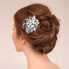 Vintage inspiré Swarovski Crystal Head Piece Tiara, peigne à cheveux perle blanc/ivoire Bridal fleur ruban, bijoux de demoiselle d'honneur-118106569