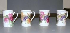 Set of 4 English Rose Bone China Mugs 9 oz Bone China Mug Gold Trimmed - Roses And Teacups Porcelain Mugs, China Porcelain, Mugs Set, Tea Mugs, How To Trim Roses, Employee Gifts, China Mugs, English Roses, Purple Roses
