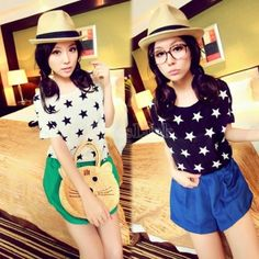 Women's Short Sleeve Loose Casual Star Pattern T-Shirt Tops 2 Colors