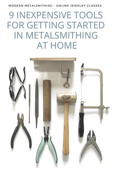 9 Inexpensive Tools for Getting Started in Metalsmithing at Home – Modern Metalsmithing jewelry tools flat lay – 9 inexpensive tools for getting started in metalsmithing at home – Modern Metalsmithing: online jewelry making classes and resources Metal Jewelry Making, Diy Jewelry Unique, Jewelry Making Classes, Jewelry Making Tutorials, Jewelry Crafts, Inexpensive Jewelry, Make Jewelry, Jewelry Ideas, Diy Jewelry Tools