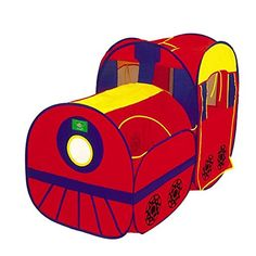 Locomotive Play Tent and Tunnel Pop-Up Red Train - Indoor/Outdoor Playhouse. Collapsible Locomotive Play Tent with Tunnel and Case. Polyester non-woven fabric material is durable, strong and easy to clean. Instant and easy set-up with twist and pop-up technology. Includes zipper carrying case for easy storage. Suitable for outdoor and indoor use.