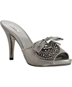 Miu Miu  silver leather bow detail jeweled platform slides  #shoes