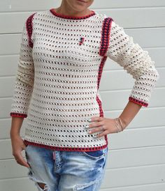 Cotton sweater crochet jumper knitted pullover summer sweater ...