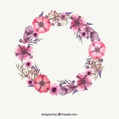 Watercolor pink flower wreath Free Vector
